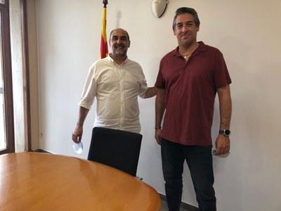 Jordi Solernou, alcalde de Sant Joan de Vilatorrada, i Ignacio Pardillo, tinent alcalde d'El Rubio.